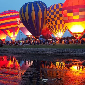 Balloons glowing at festival